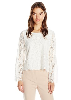 Vince Camuto Women's Bell Sleeve Scallop Edge Lace Blouse  L
