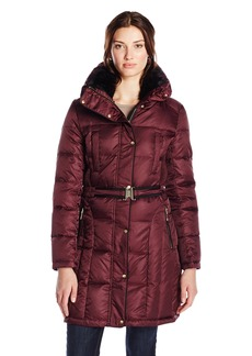 Vince Camuto Women's Belted Down Coat with Faux Fur Collar