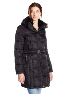 Vince Camuto Women's Belted Down Coat with Faux Fur Collar  Small