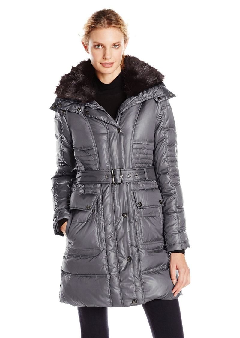 f4dfe6e9 Vince Camuto Women's Belted Down Coat with Utility Pockets and Faux-Fur  Collar
