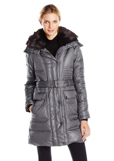 VINCE CAMUTO Women's Belted Down Coat with Utility Pockets and Faux-Fur Collar