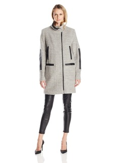 Vince Camuto Women's Boiled Wool Coat With Faux Leather Trim