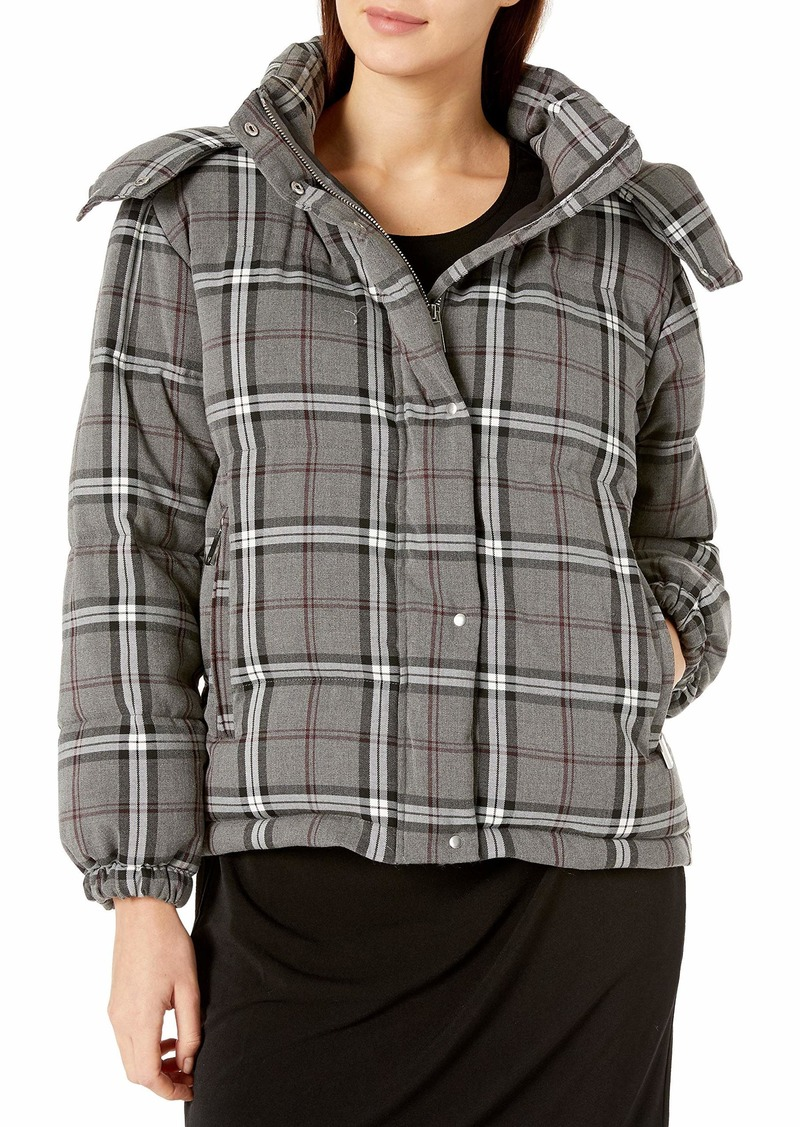 Vince Camuto Women's Bold Plaid Hooded Puffer Coat  Extra Large