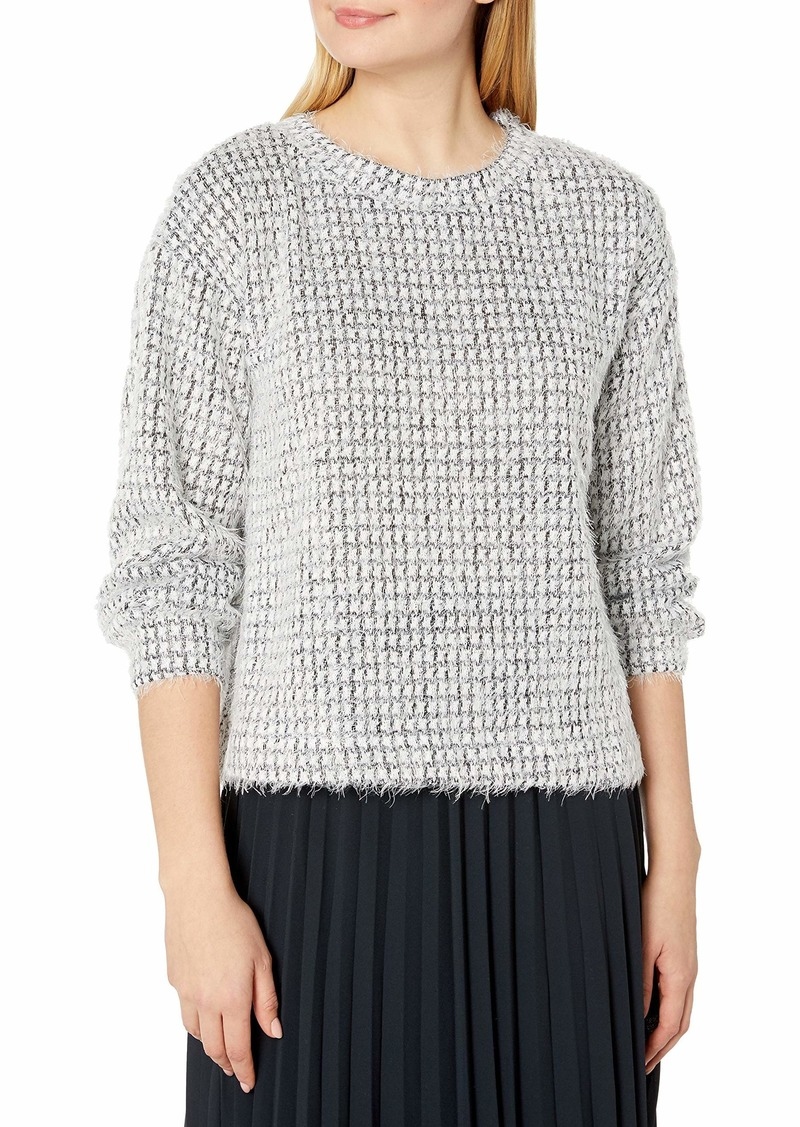 Vince Camuto Women's Bubble Sleeve Eyelash Houndstooth Top
