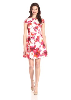 Vince Camuto Women's Cap Sleeve Floral Printed Fit and Flare Dress