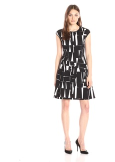 Vince Camuto Women's Cap Sleeve Graphic Forms Scuba Dress