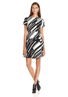 Vince Camuto Women's Cap Sleeve Graphic Wave Flare Dress