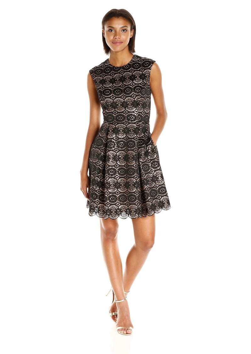 Vince Camuto Women's Cap Sleeve Lace Fit and Flare Dress