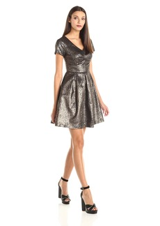 Vince Camuto Women's Cap Sleeve Lurex Jacquard A-Line Dress