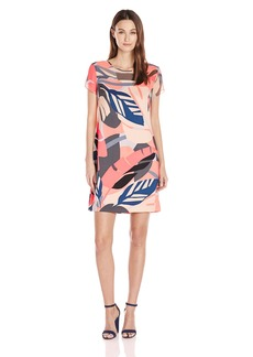 Vince Camuto Women's Cap Sleeve Modern Tropics Sheer Yoke Dress