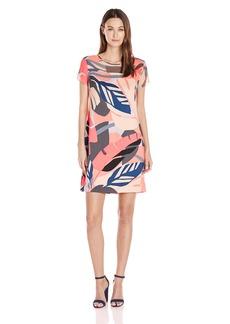 Vince Camuto Women's Cap Sleeve Modern Tropics Sheer Yoke Dress