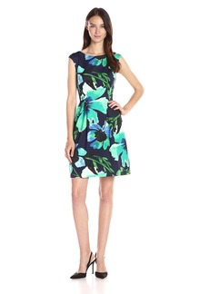 Vince Camuto Women's Cap Sleeve Printed Fit-And-Flare Dress