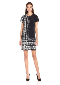 Vince Camuto Women's Cap Sleeve Textural Track Shift Dress
