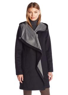 Vince Camuto Women's Cascading Wool Coat  L