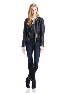 Vince Camuto Women's Chain Trim Quilted Leather Jacket