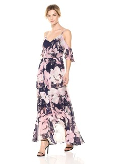 VINCE CAMUTO Women's Cold Shoulder Chiffon Maxi Dress