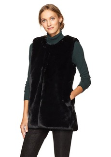 Vince Camuto Women's Collarless Faux Fur Vest With Pockets black
