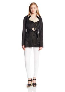 Vince Camuto Women's Contrast Color Asymmetrical Belted Trench Coat  arge
