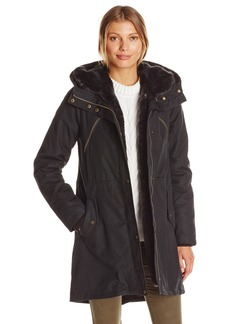 Vince Camuto Women's Cotton Parka with Faux Fur Trim