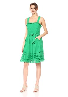Vince Camuto Women's Cotton Ruffle Fit and Flare Dress