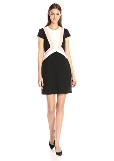 Vince Camuto Women's Crepe Colorblock Shift Dress