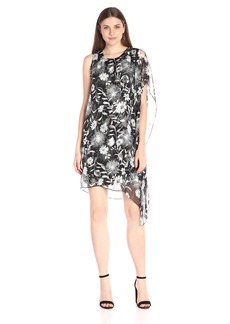 Vince Camuto Women's Dandelion Dress with Chiffon Overlay