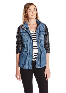 Vince Camuto Women's Denim Anorak with Faux Leather Sleeves