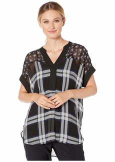 Vince Camuto Women's Dolman Sleeve Mixed Print Blouse