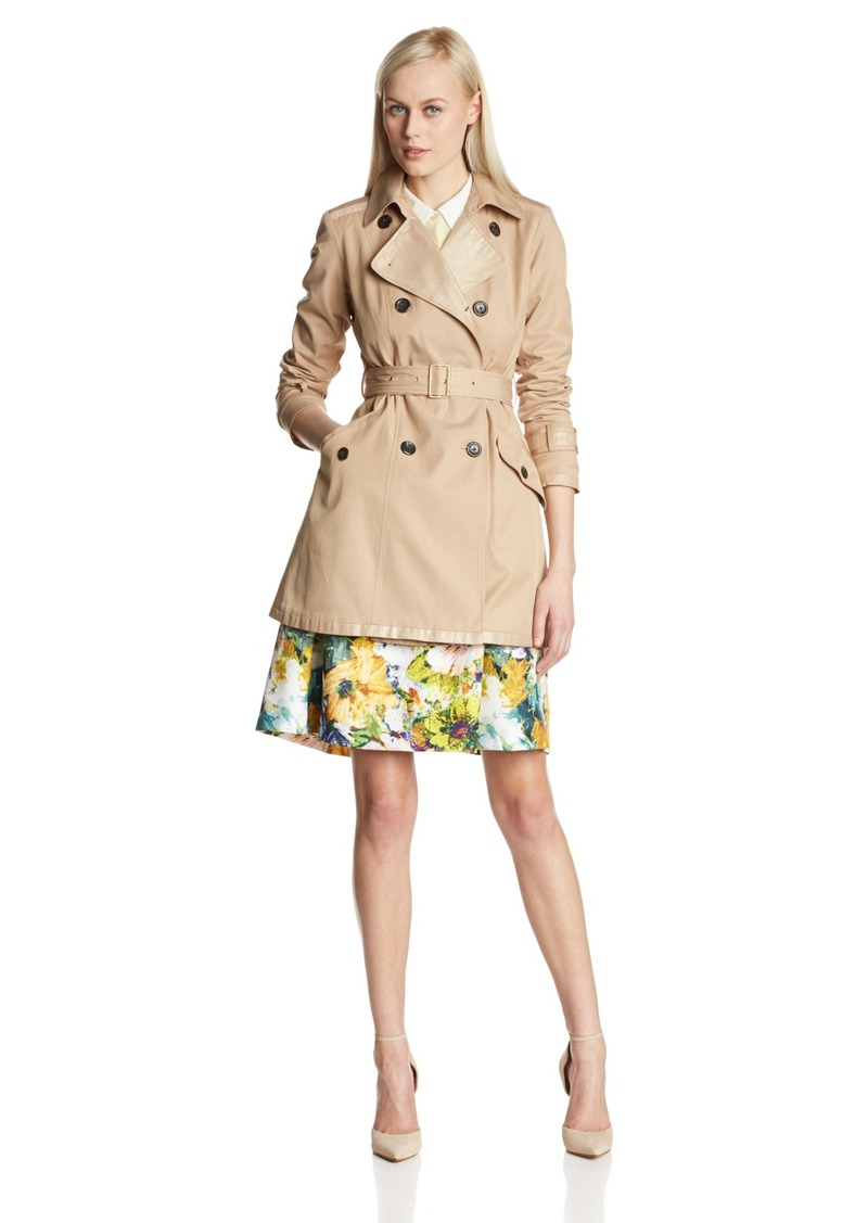 Vince Camuto Women's Double Breasted Metallic Lapel Trench Coat