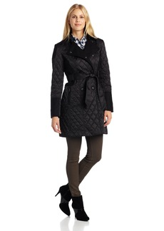 Vince Camuto Women's Double Breasted Quilted Trench Coat