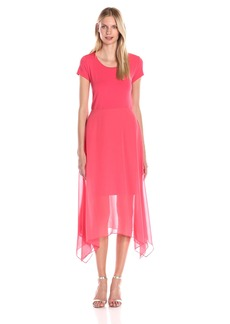 Vince Camuto Women's Dress with Shark Bite Chiffon Overlay