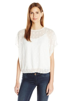 Vince Camuto Women's Drop Shldr Back-Tie Embroidered Blouse ight Cream arge