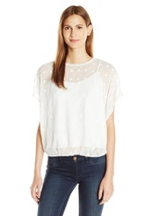 Vince Camuto Women's Drop Shldr Back-Tie Embroidered Blouse