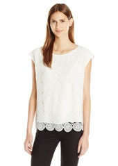 Vince Camuto Women's Drop Shldr Circle Embroidered Lace Top