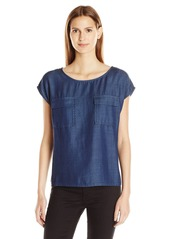 Vince Camuto Women's Drop Shldr Two-Pocket Tencel Denim Top