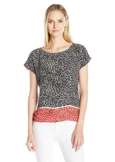 Vince Camuto Women's Drop Shoulder Animal Swirl Blouse  Large