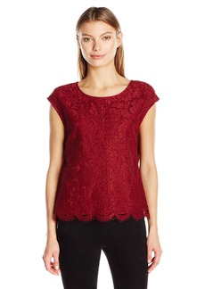 Vince Camuto Women's Drop Shoulder Scallop Lace Blouse