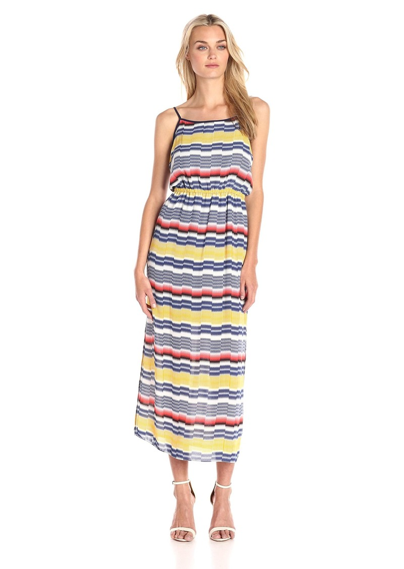 Vince Camuto Women's Elastic Waist Jagged Stripe Maxi Dress