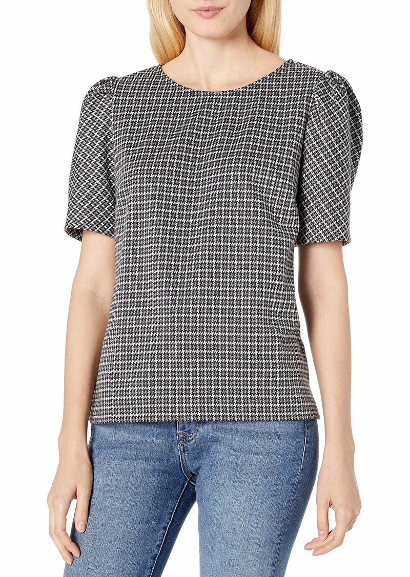 Vince Camuto Women's Elbow Sleeve Classic Check Puff Shoulder Blouse