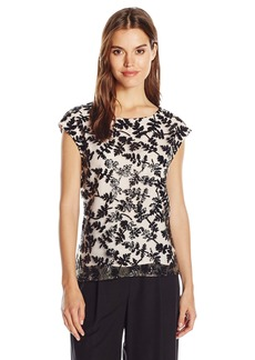 Vince Camuto Women's Embroidered Sequin Lace Shell Top  L