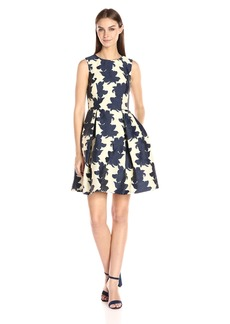 VINCE CAMUTO Women's Emroidered Organza Fit and Flare Dress