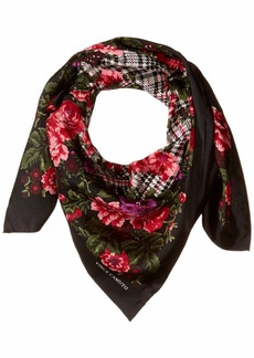 Vince Camuto Women's English Rose Plaid Square Scarf black