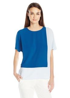 Vince Camuto Women's Extend Shoulder Colorblocked Blouse  L