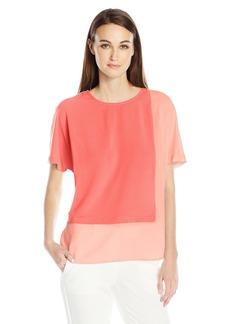 Vince Camuto Women's Extend Shoulder Colorblocked Blouse  XL