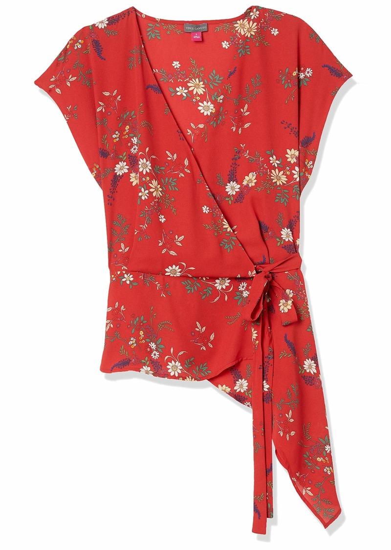 Vince Camuto Women's Extend Shoulder Floral Bouquet Wrap Front Peplum Blouse