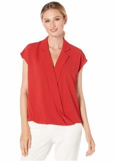 Vince Camuto Women's Extend Shoulder Notched Collar Blouse