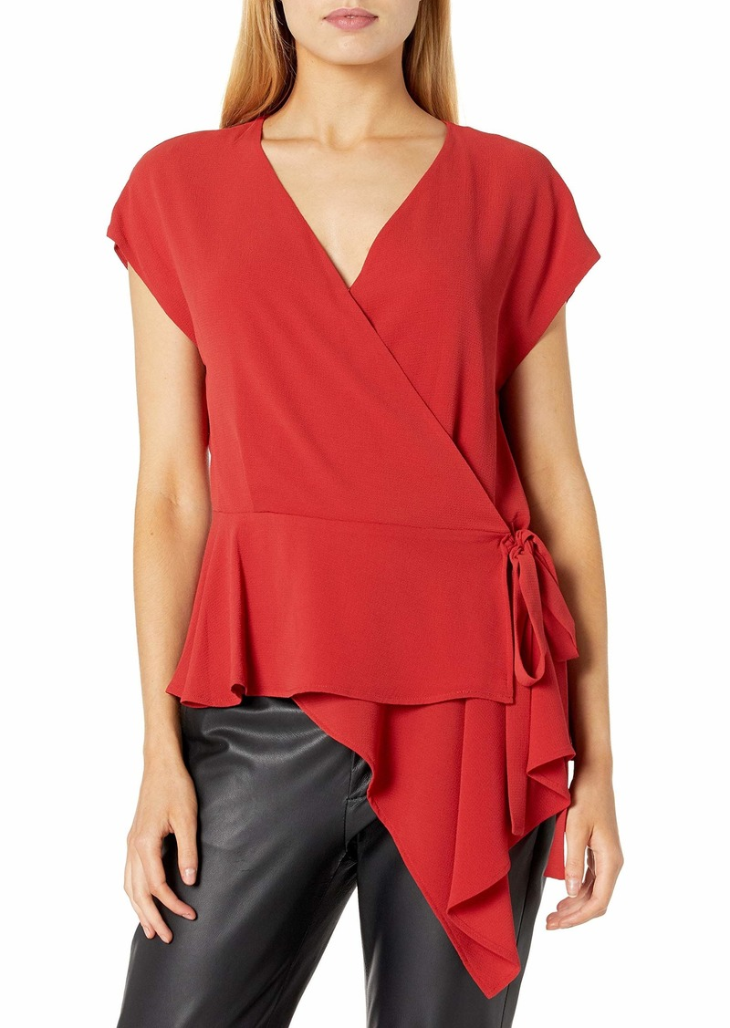 Vince Camuto Women's Extend Shoulder Wrap Front Peplum Blouse
