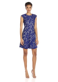 Vince Camuto Women's Extended Cap Sleeve A-Line Dress