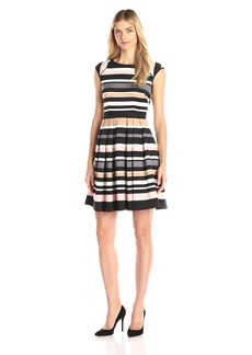 Vince Camuto Women's Extended Cap Sleeve Fit and Flare Dress with Pleats