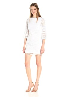 Vince Camuto Women's Eyelet Bell Sleeve Shift Dress